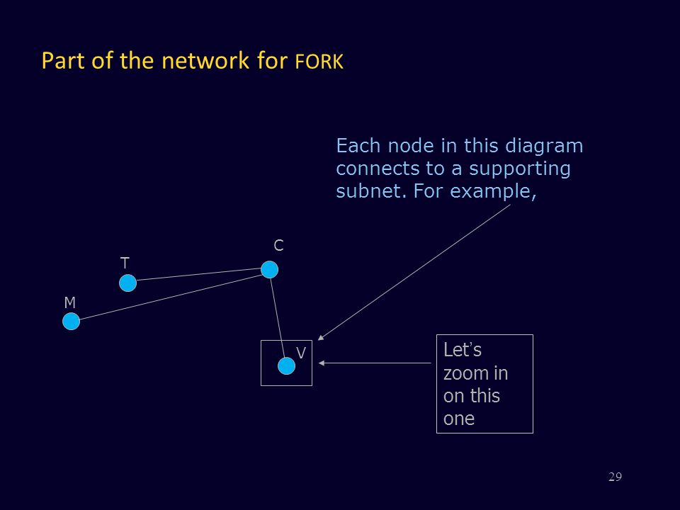 Part of the network for FORK V C Each node in this diagram connects to a supporting subnet. For example, Let's zoom in on this one M T 29