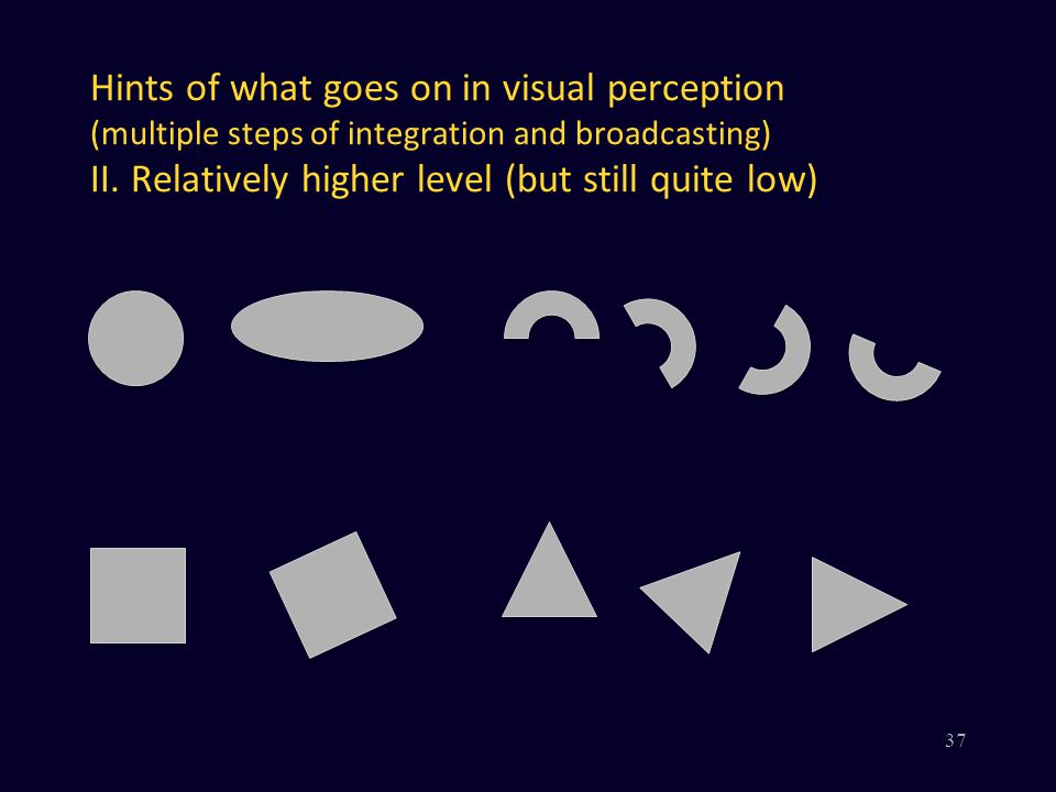 Hints of what goes on in visual perception (multiple steps of integration and broadcasting) II. Relatively higher level (but still quite low) 37