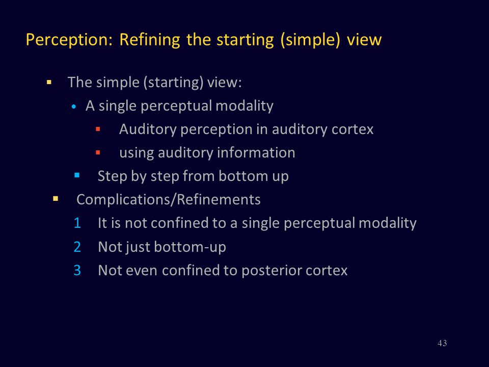Perception: Refining the starting (simple) view  The simple (starting) view: A single perceptual modality  Auditory perception in auditory cortex 