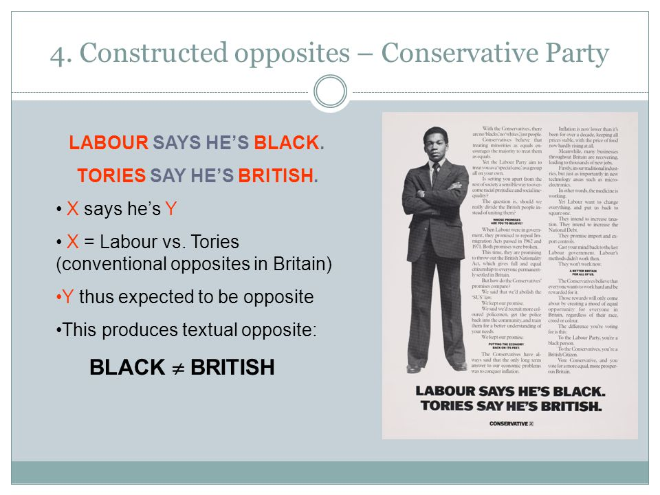 4.Constructed opposites – Conservative Party LABOUR SAYS HE'S BLACK.