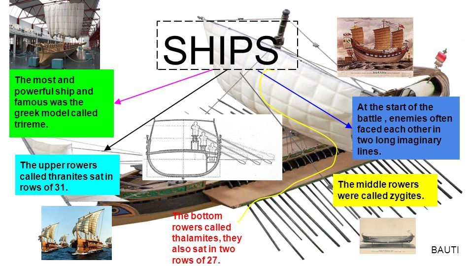 SHIPS The most and powerful ship and famous was the greek model called trireme. At the start of the battle, enemies often faced each other in two long