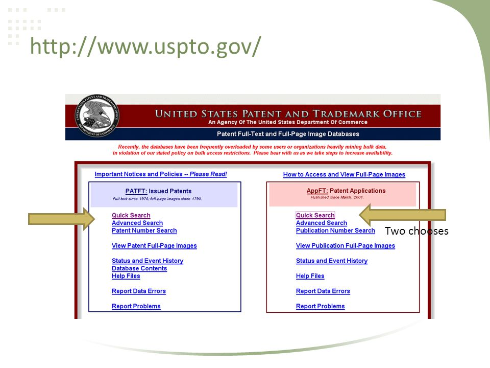 http://www.uspto.gov/ Two chooses