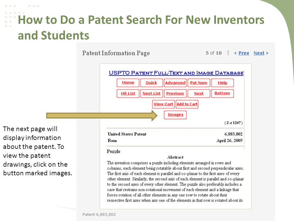 How to Do a Patent Search For New Inventors and Students The next page will display information about the patent.