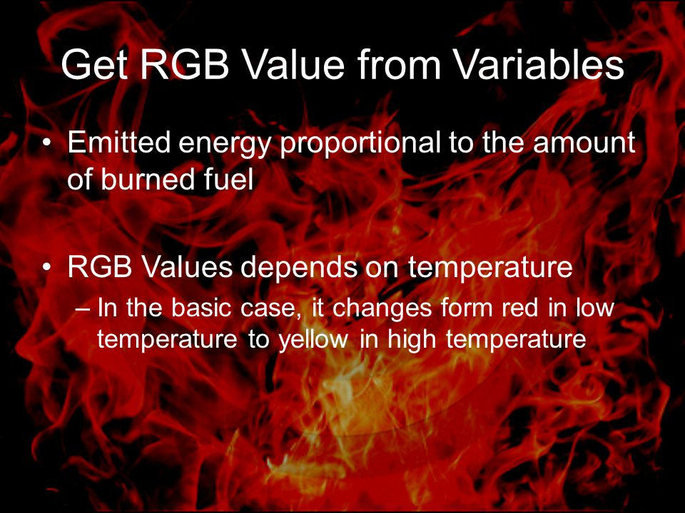 Get RGB Value from Variables Emitted energy proportional to the amount of burned fuel RGB Values depends on temperature –In the basic case, it changes
