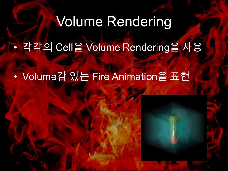 Volume Rendering 각각의 Cell 을 Volume Rendering 을 사용 Volume 감 있는 Fire Animation 을 표현