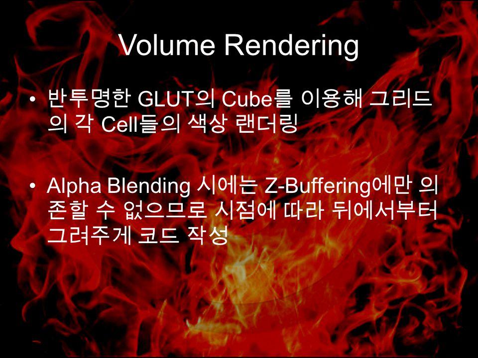 Volume Rendering 반투명한 GLUT 의 Cube 를 이용해 그리드 의 각 Cell 들의 색상 랜더링 Alpha Blending 시에는 Z-Buffering 에만 의 존할 수 없으므로 시점에 따라 뒤에서부터 그려주게 코드 작성