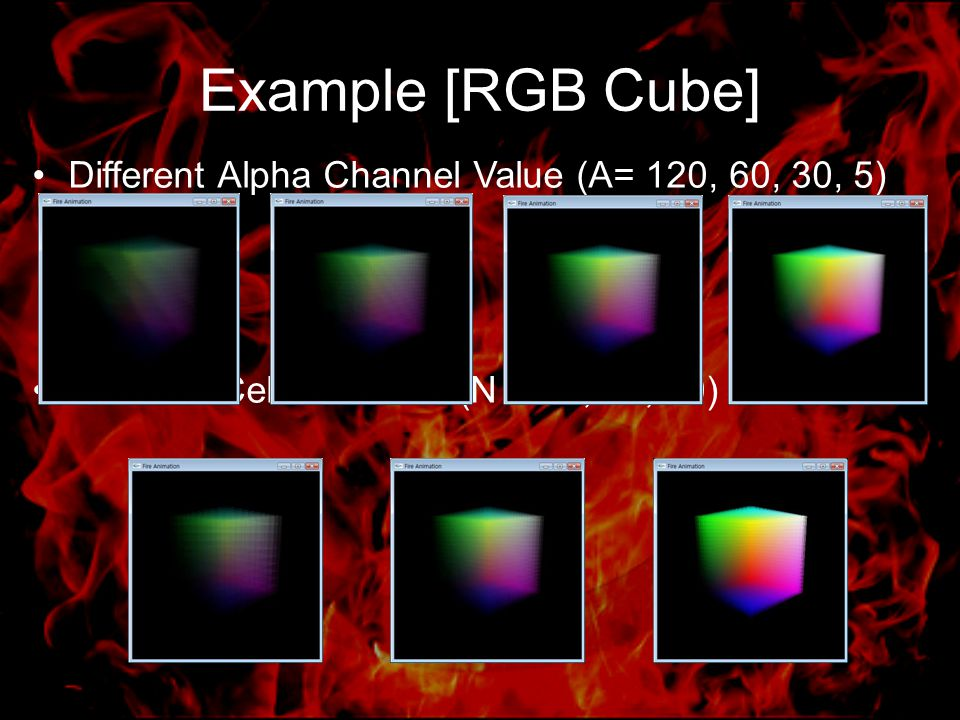 Example [RGB Cube] Different Alpha Channel Value (A= 120, 60, 30, 5) Different Cell Grid Size (N = 10, 20, 50)