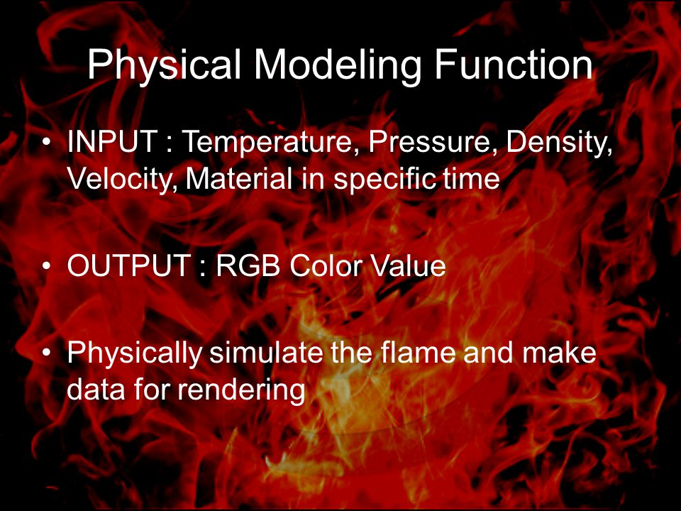 Physical Modeling Function INPUT : Temperature, Pressure, Density, Velocity, Material in specific time OUTPUT : RGB Color Value Physically simulate the flame and make data for rendering