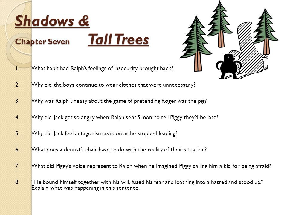 Shadows & Chapter Seven Tall Trees 1.What habit had Ralph's feelings of insecurity brought back? 2.Why did the boys continue to wear clothes that were