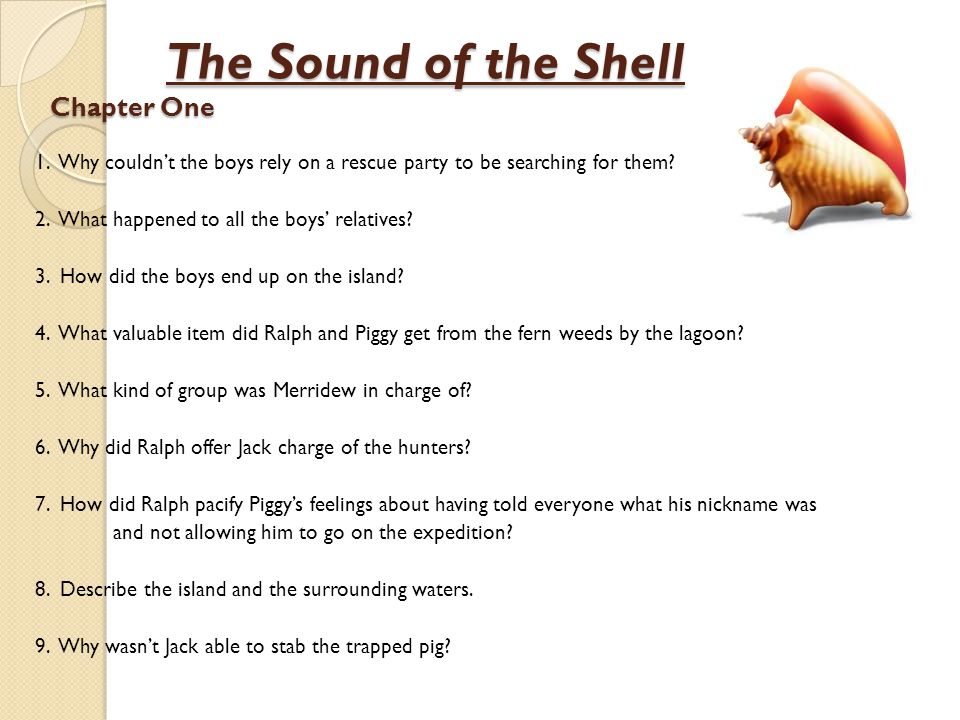 The Sound of the Shell Chapter One The Sound of the Shell Chapter One 1. Why couldn't the boys rely on a rescue party to be searching for them? 2. Wha
