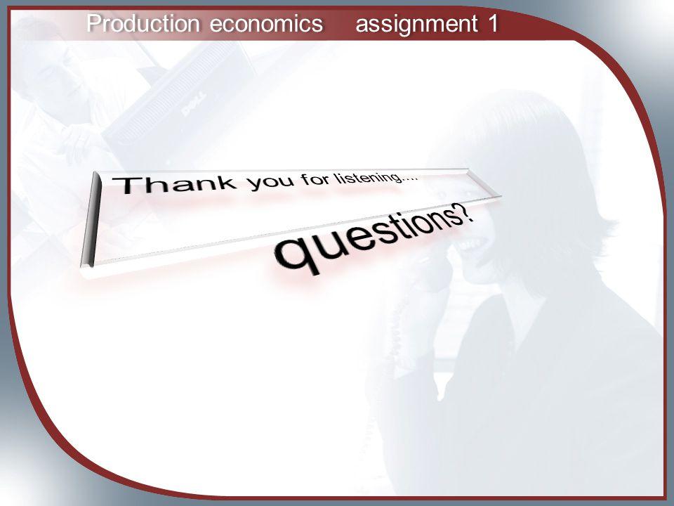 Production economicsassignment 1