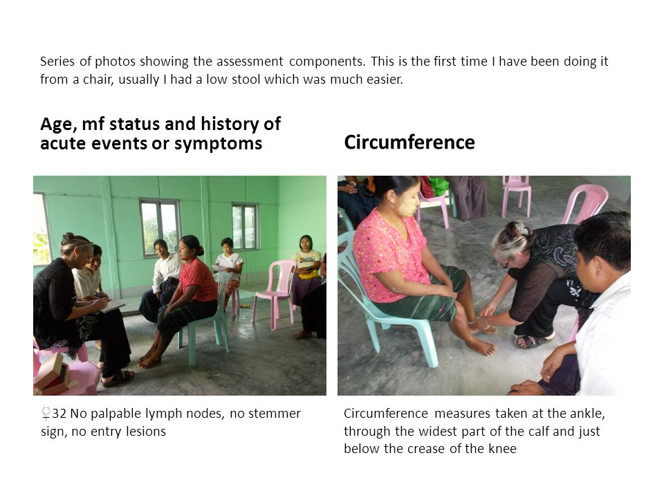 Series of photos showing the assessment components.