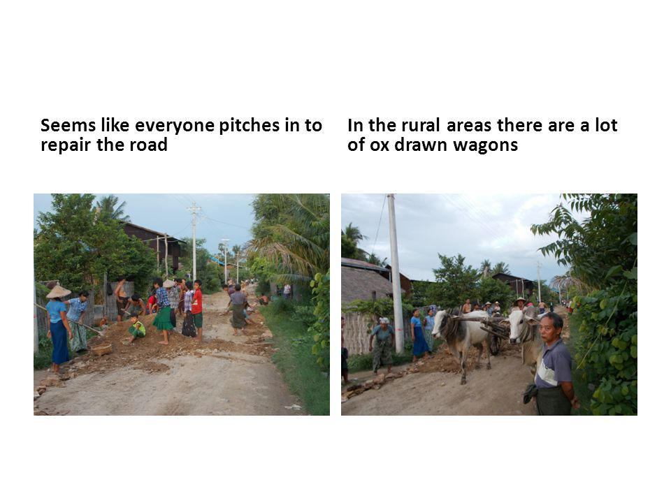 Seems like everyone pitches in to repair the road In the rural areas there are a lot of ox drawn wagons