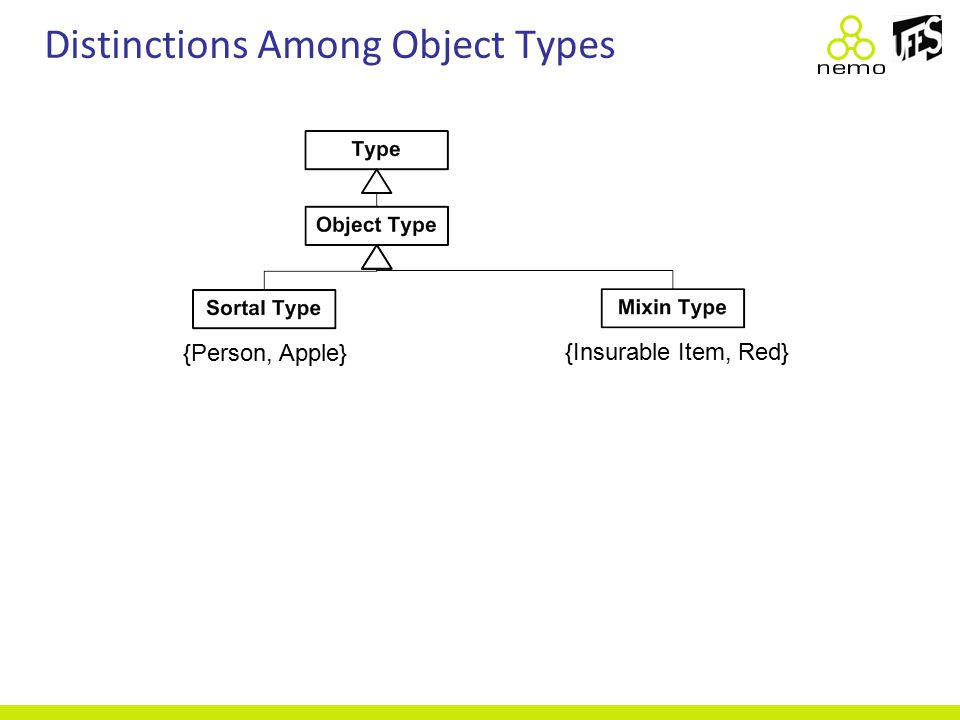 Distinctions Among Object Types {Person, Apple} {Insurable Item, Red}