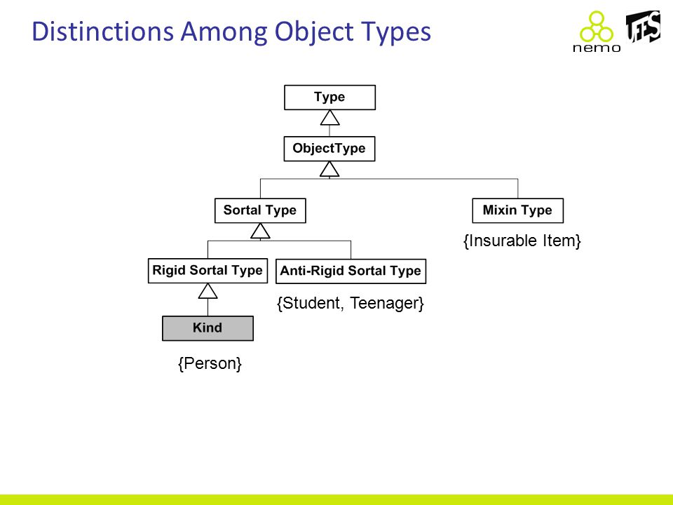 Distinctions Among Object Types {Person} {Insurable Item} {Student, Teenager}