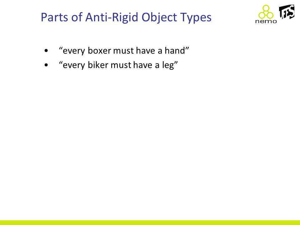 Parts of Anti-Rigid Object Types every boxer must have a hand every biker must have a leg