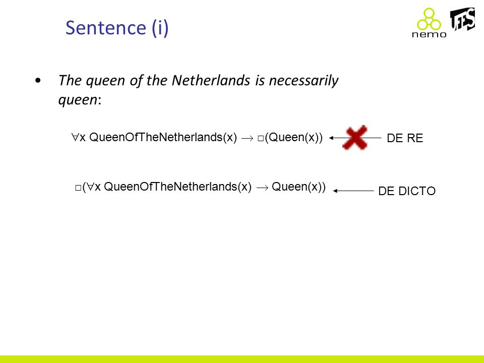 Sentence (i) The queen of the Netherlands is necessarily queen:  x QueenOfTheNetherlands(x)  □(Queen(x)) □(  x QueenOfTheNetherlands(x)  Queen(x)) DE RE DE DICTO