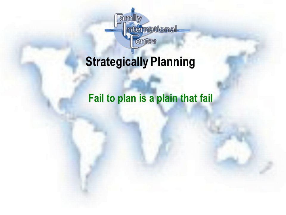Strategically Planning Fail to plan is a plain that fail