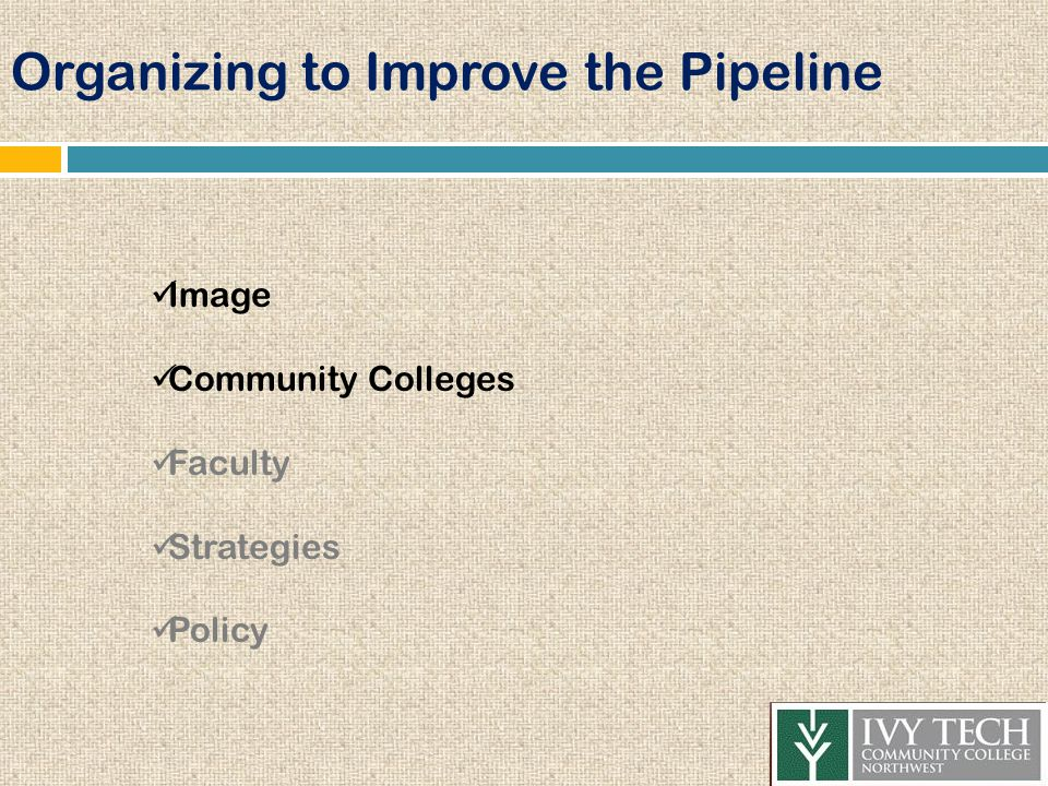 Organizing to Improve the Pipeline Image Community Colleges Faculty Strategies Policy