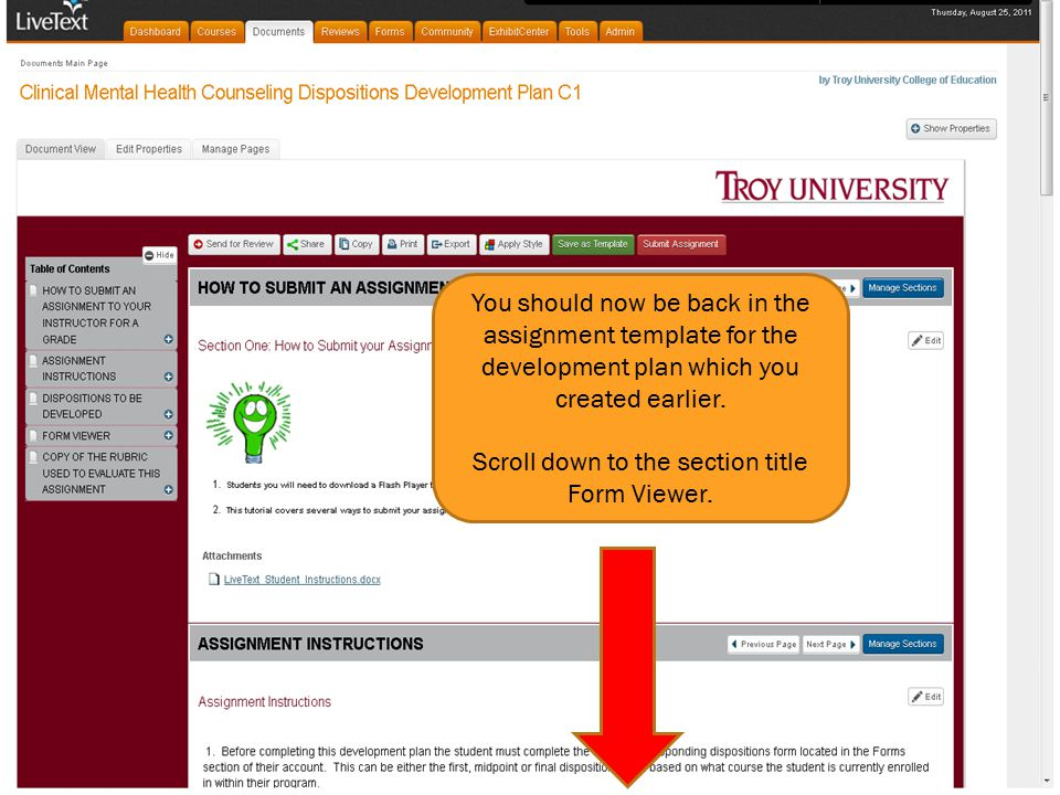 You should now be back in the assignment template for the development plan which you created earlier. Scroll down to the section title Form Viewer.