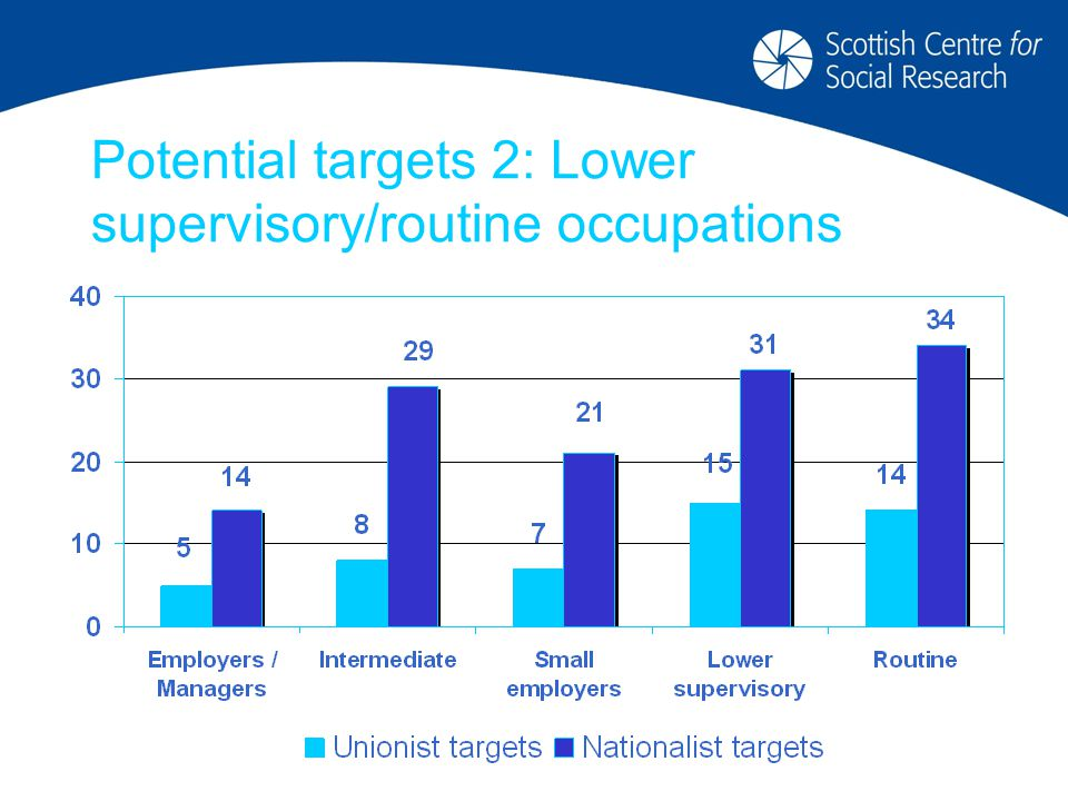 Potential targets 2: Lower supervisory/routine occupations