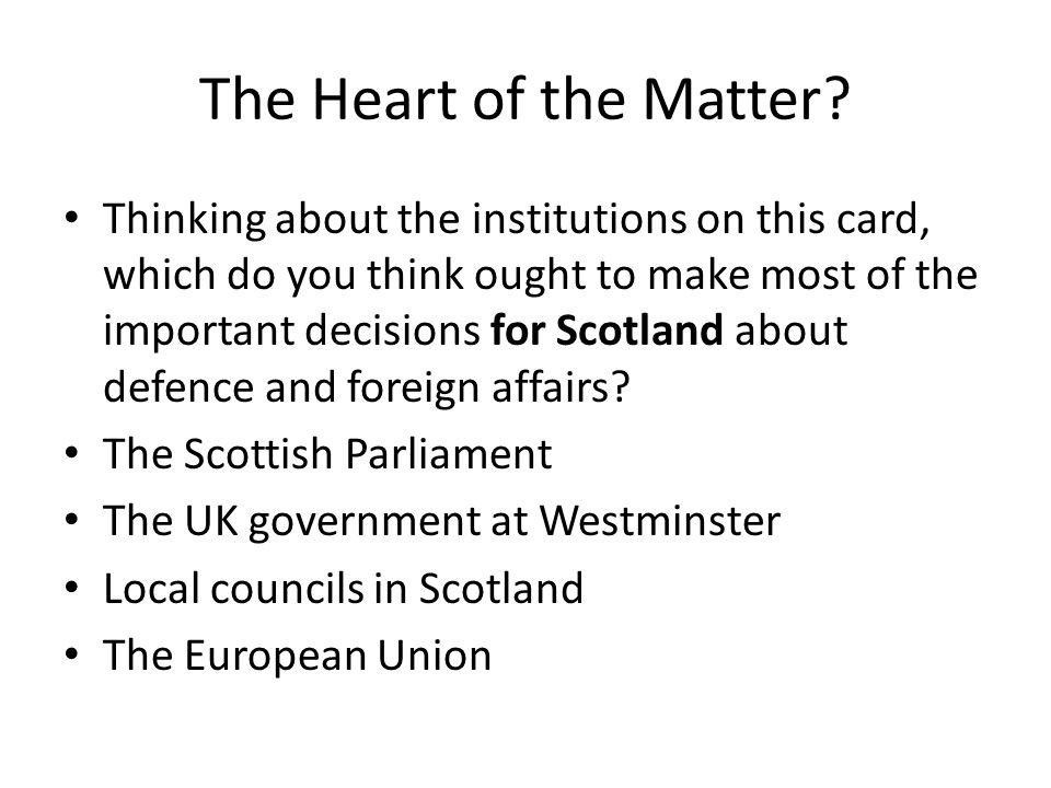 Westminster's Role