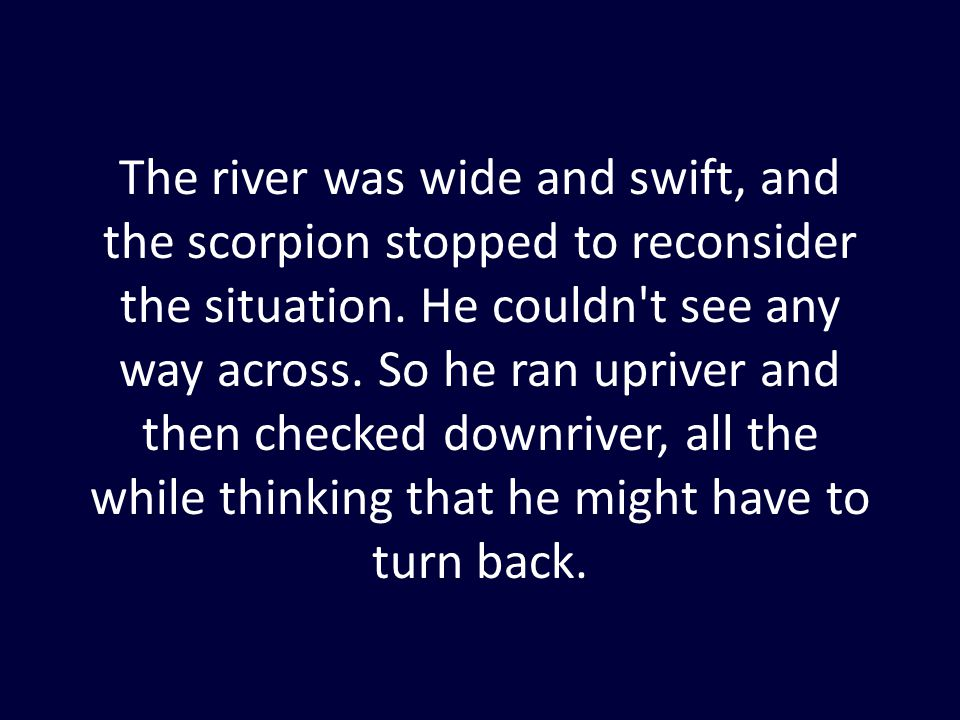 The river was wide and swift, and the scorpion stopped to reconsider the situation. He couldn't see any way across. So he ran upriver and then checked