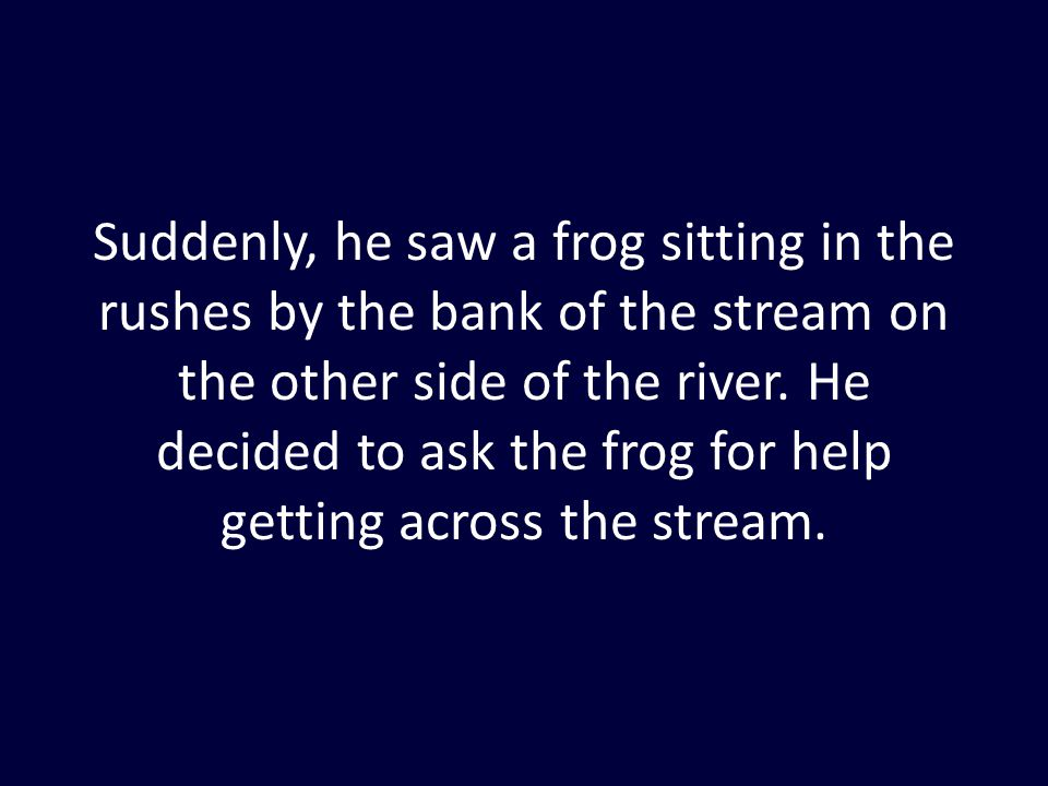 Suddenly, he saw a frog sitting in the rushes by the bank of the stream on the other side of the river. He decided to ask the frog for help getting ac