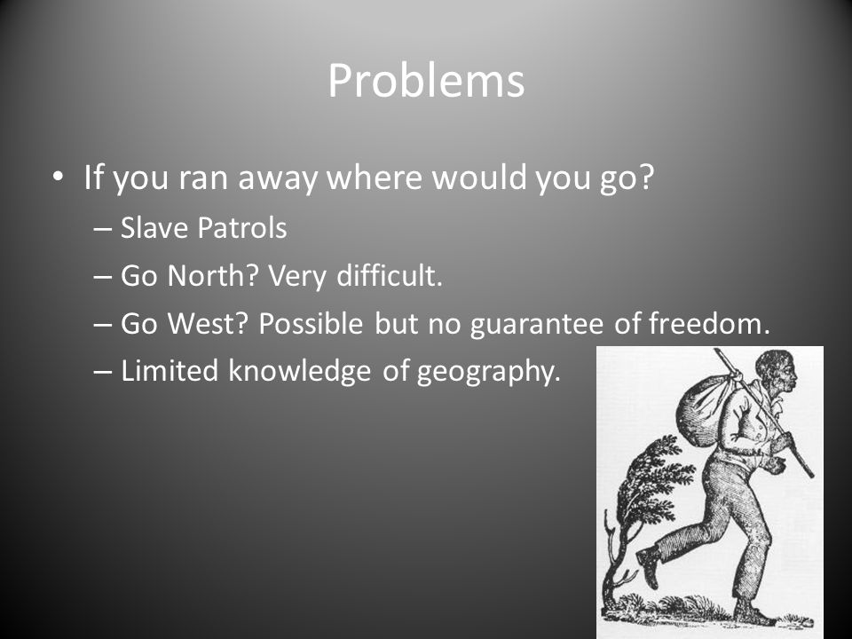Problems If you ran away where would you go.– Slave Patrols – Go North.