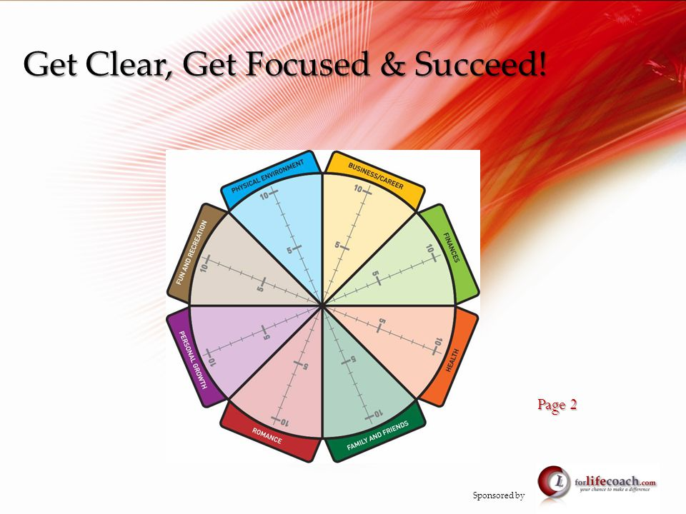 Get Clear, Get Focused & Succeed! Page 2 Sponsored by
