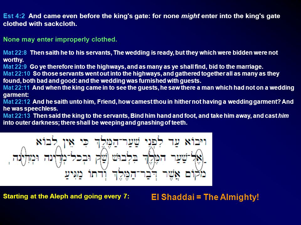 Est 4:2 And came even before the king s gate: for none might enter into the king s gate clothed with sackcloth.