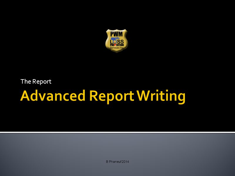 The Report B Phaneuf 2014