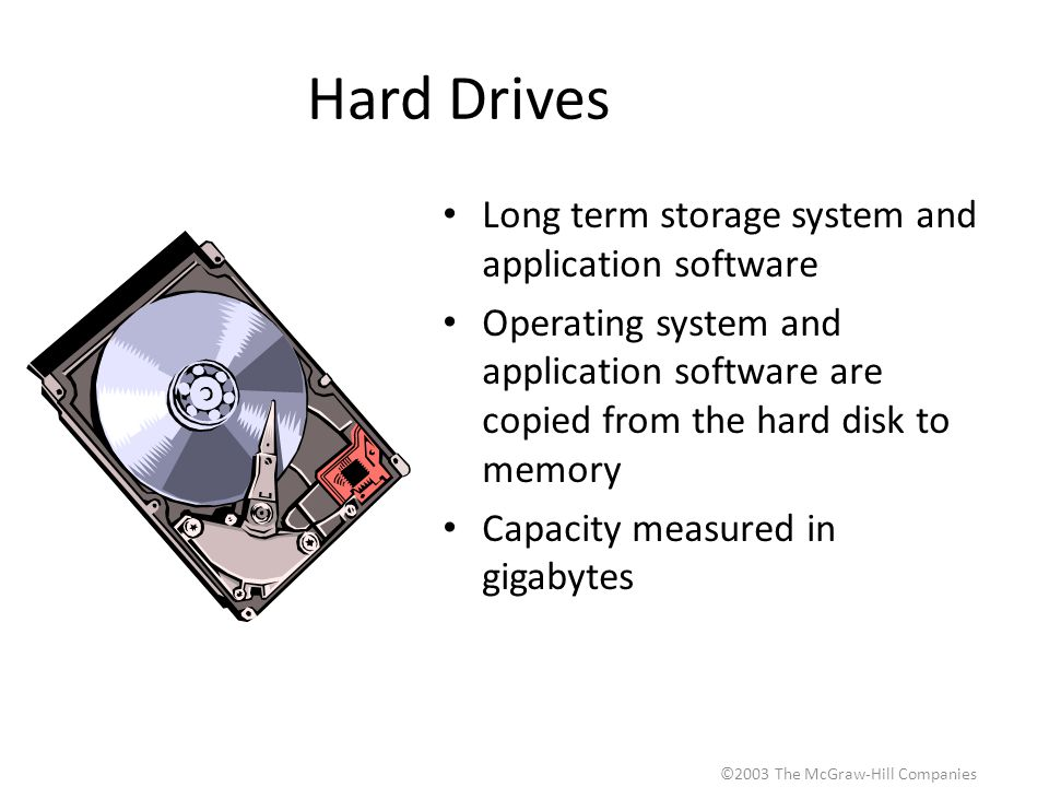 ©2003 The McGraw-Hill Companies Hard Drives Long term storage system and application software Operating system and application software are copied from the hard disk to memory Capacity measured in gigabytes