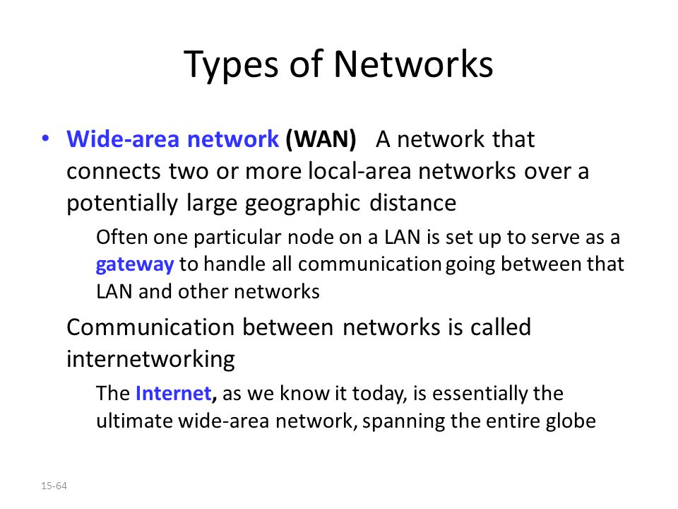 15-64 Types of Networks Wide-area network (WAN) A network that connects two or more local-area networks over a potentially large geographic distance Often one particular node on a LAN is set up to serve as a gateway to handle all communication going between that LAN and other networks Communication between networks is called internetworking The Internet, as we know it today, is essentially the ultimate wide-area network, spanning the entire globe
