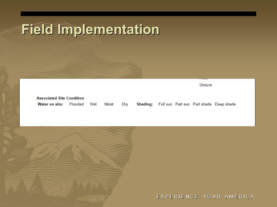 E X P E R I E N C E Y O U R A M E R I C A Field Implementation