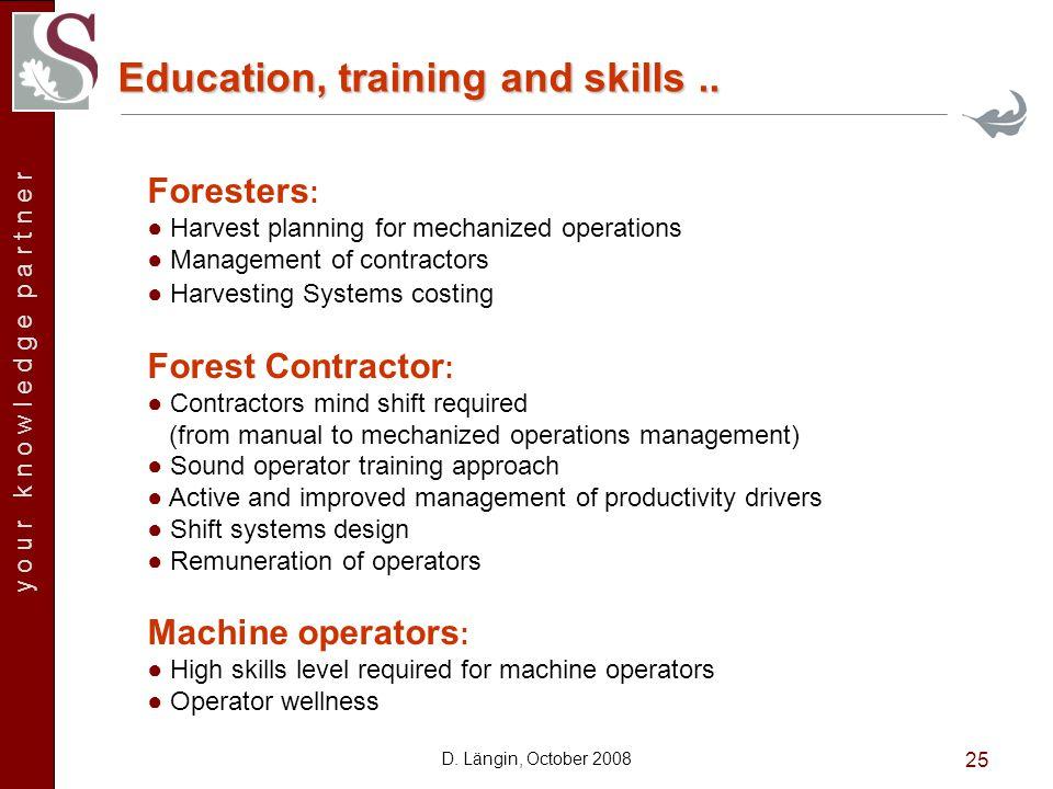y o u r k n o w l e d g e p a r t n e r D.Längin, October 2008 25 Education, training and skills..