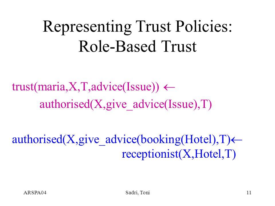 ARSPA04Sadri, Toni11 Representing Trust Policies: Role-Based Trust trust(maria,X,T,advice(Issue))  authorised(X,give_advice(Issue),T) authorised(X,give_advice(booking(Hotel),T)  receptionist(X,Hotel,T)