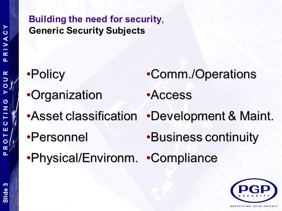 Slide 3 P R O T E C T I N G Y O U R P R I V A C Y PolicyPolicy OrganizationOrganization Asset classificationAsset classification PersonnelPersonnel Physical/Environm.Physical/Environm.