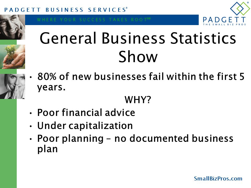 P A D G E T T B U S I N E S S S E R V I C E S ® W H E R E Y O U R S U C C E S S T A K E S R O O T ℠ SmallBizPros.com General Business Statistics Show 80% of new businesses fail within the first 5 years.