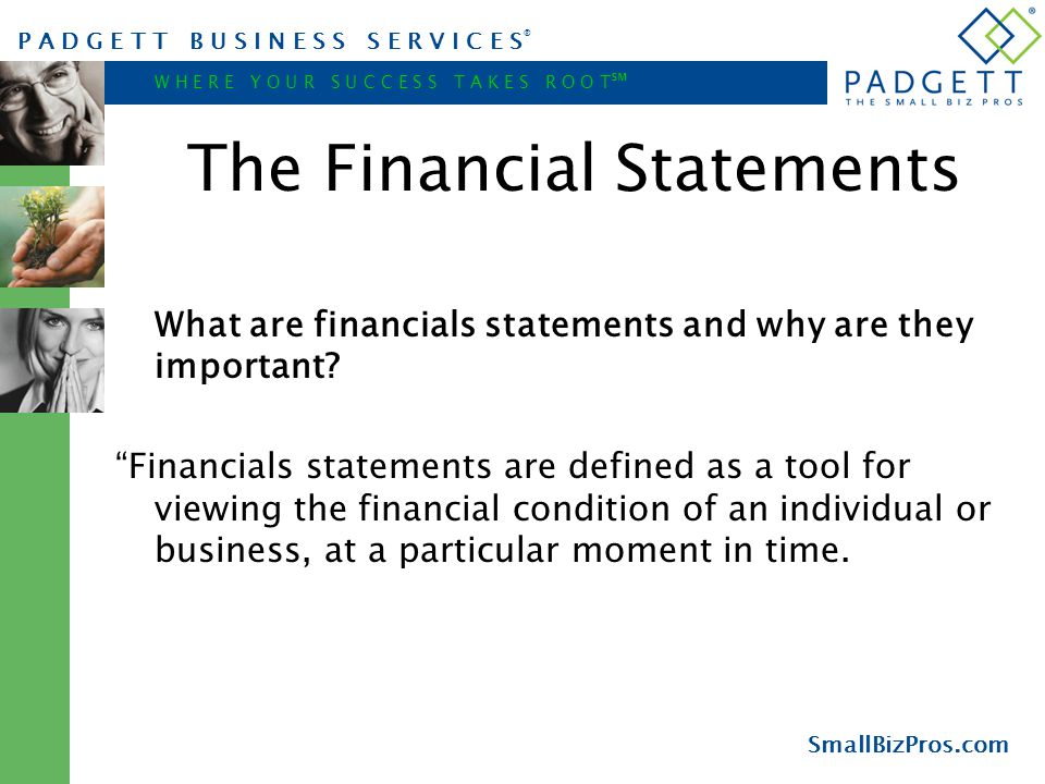 P A D G E T T B U S I N E S S S E R V I C E S ® W H E R E Y O U R S U C C E S S T A K E S R O O T ℠ SmallBizPros.com The Financial Statements What are financials statements and why are they important.