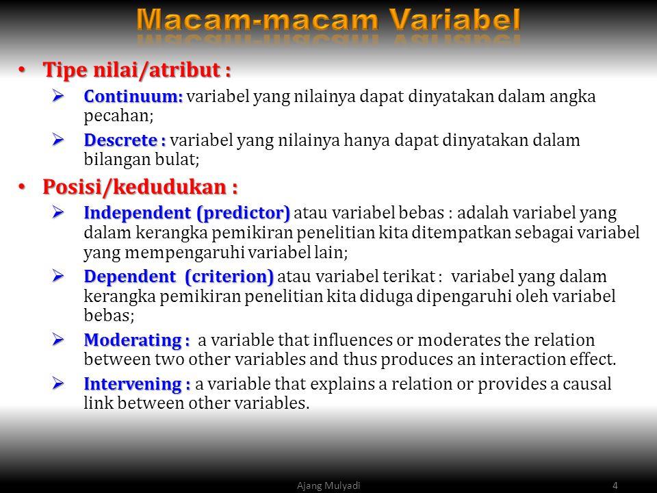 Tipe nilai/atribut : Tipe nilai/atribut :  Continuum:  Continuum: variabel yang nilainya dapat dinyatakan dalam angka pecahan;  Descrete :  Descrete : variabel yang nilainya hanya dapat dinyatakan dalam bilangan bulat; Posisi/kedudukan : Posisi/kedudukan :  Independent (predictor)  Independent (predictor) atau variabel bebas : adalah variabel yang dalam kerangka pemikiran penelitian kita ditempatkan sebagai variabel yang mempengaruhi variabel lain;  Dependent (criterion)  Dependent (criterion) atau variabel terikat : variabel yang dalam kerangka pemikiran penelitian kita diduga dipengaruhi oleh variabel bebas;  Moderating :  Moderating : a variable that influences or moderates the relation between two other variables and thus produces an interaction effect.