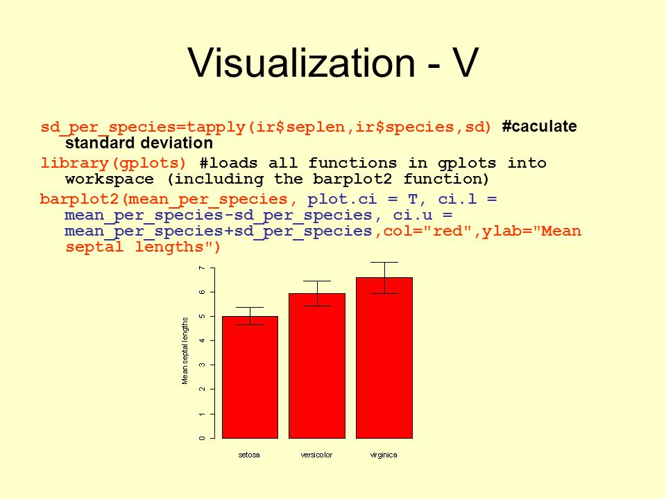 Visualization - V sd_per_species=tapply(ir$seplen,ir$species,sd) #caculate standard deviation library(gplots) #loads all functions in gplots into workspace (including the barplot2 function) barplot2(mean_per_species, plot.ci = T, ci.l = mean_per_species-sd_per_species, ci.u = mean_per_species+sd_per_species,col= red ,ylab= Mean septal lengths )