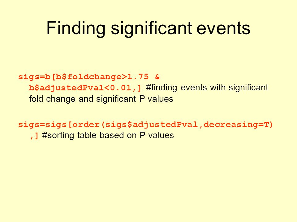 Finding significant events sigs=b[b$foldchange>1.75 & b$adjustedPval<0.01,] #finding events with significant fold change and significant P values sigs