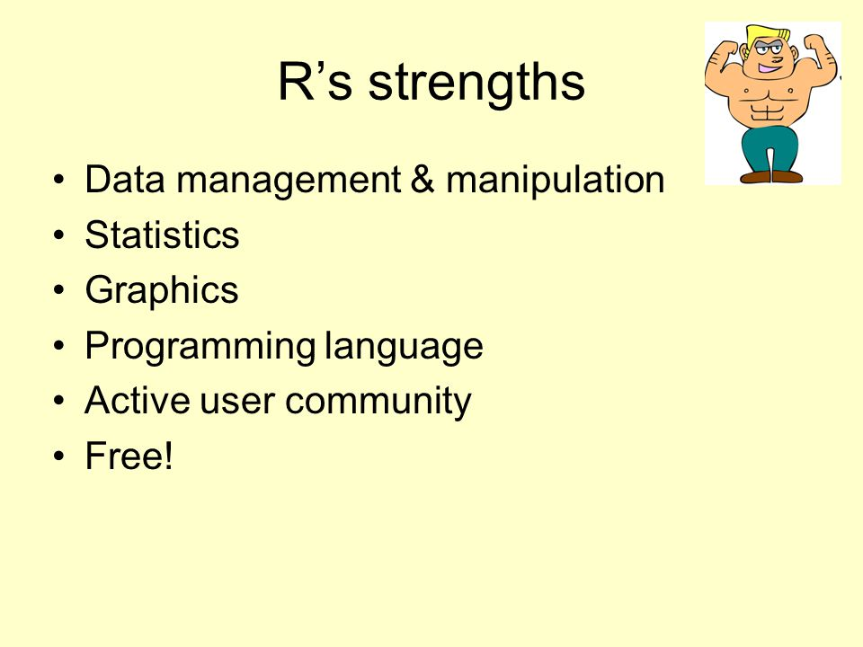 R's weakness Not user friendly at start.Minimal GUI.
