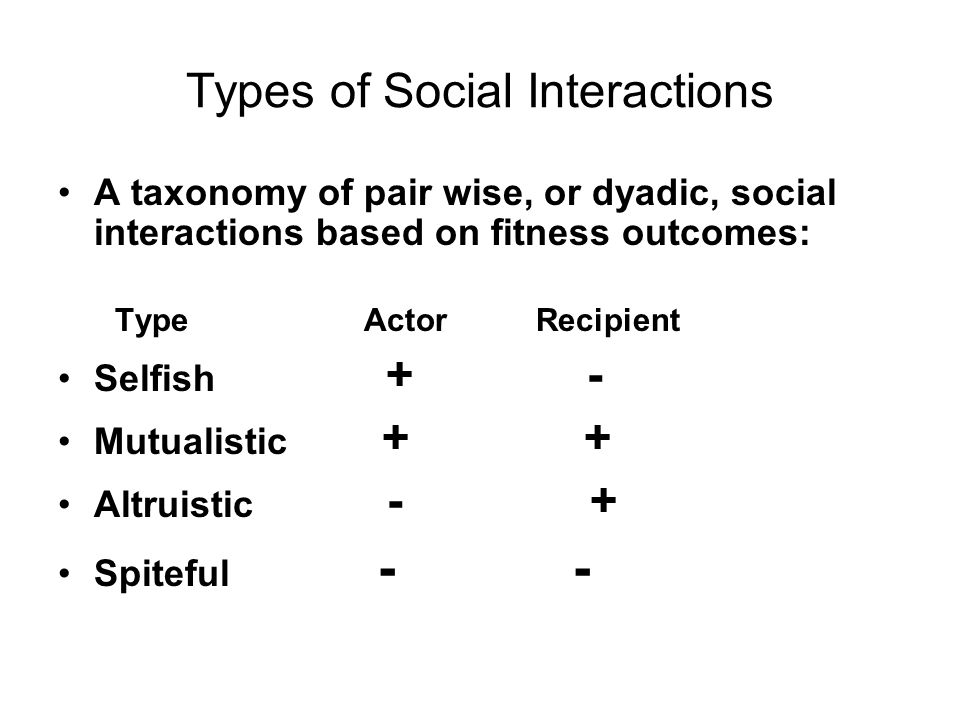 Types of Social Interactions A taxonomy of pair wise, or dyadic, social interactions based on fitness outcomes: Type Actor Recipient Selfish + - Mutualistic + + Altruistic - + Spiteful - -
