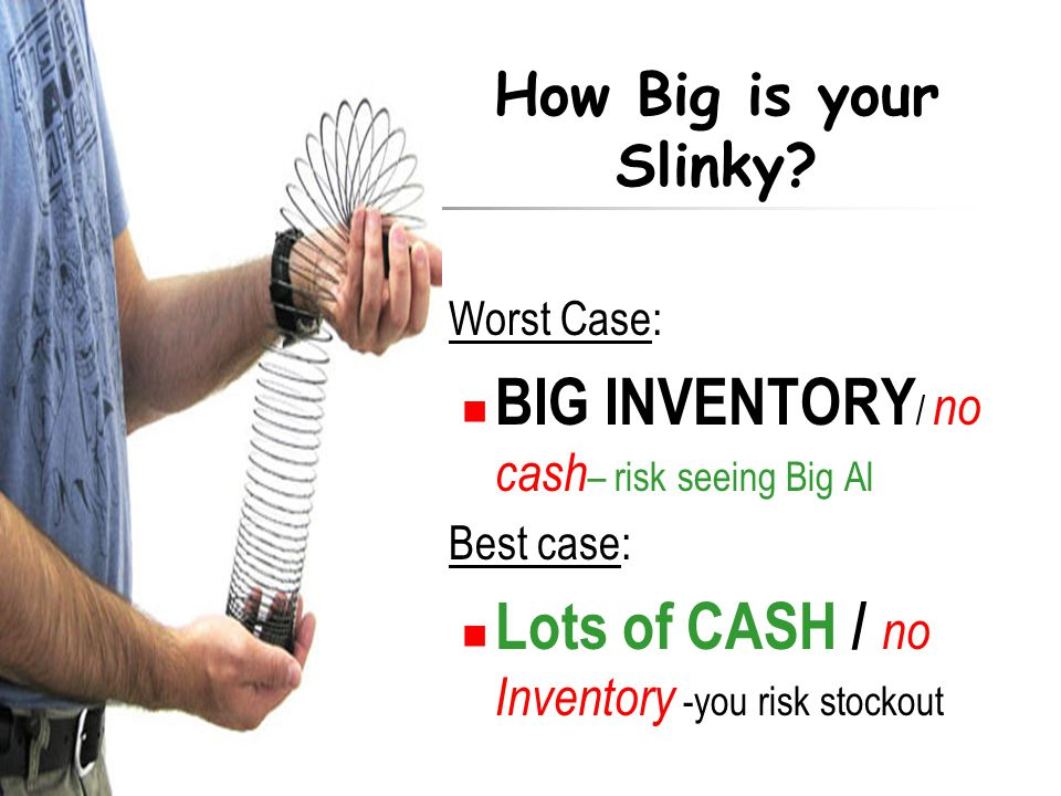 Worst Case: BIG INVENTORY / no cash – risk seeing Big Al Best case: Lots of CASH / no Inventory -you risk stockout How Big is your Slinky