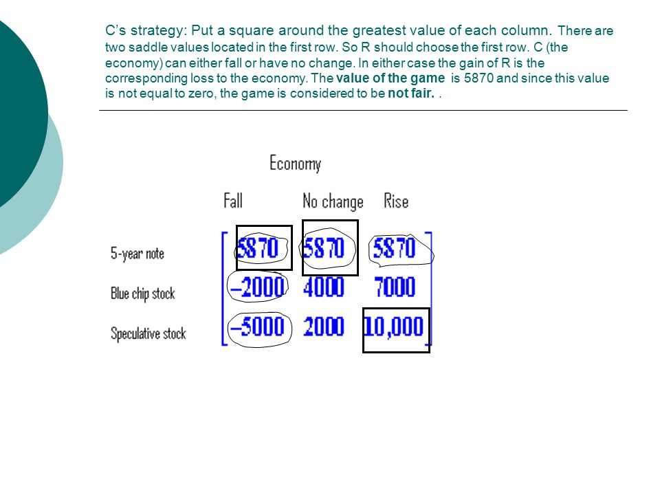 C's strategy: Put a square around the greatest value of each column. There are two saddle values located in the first row. So R should choose the firs