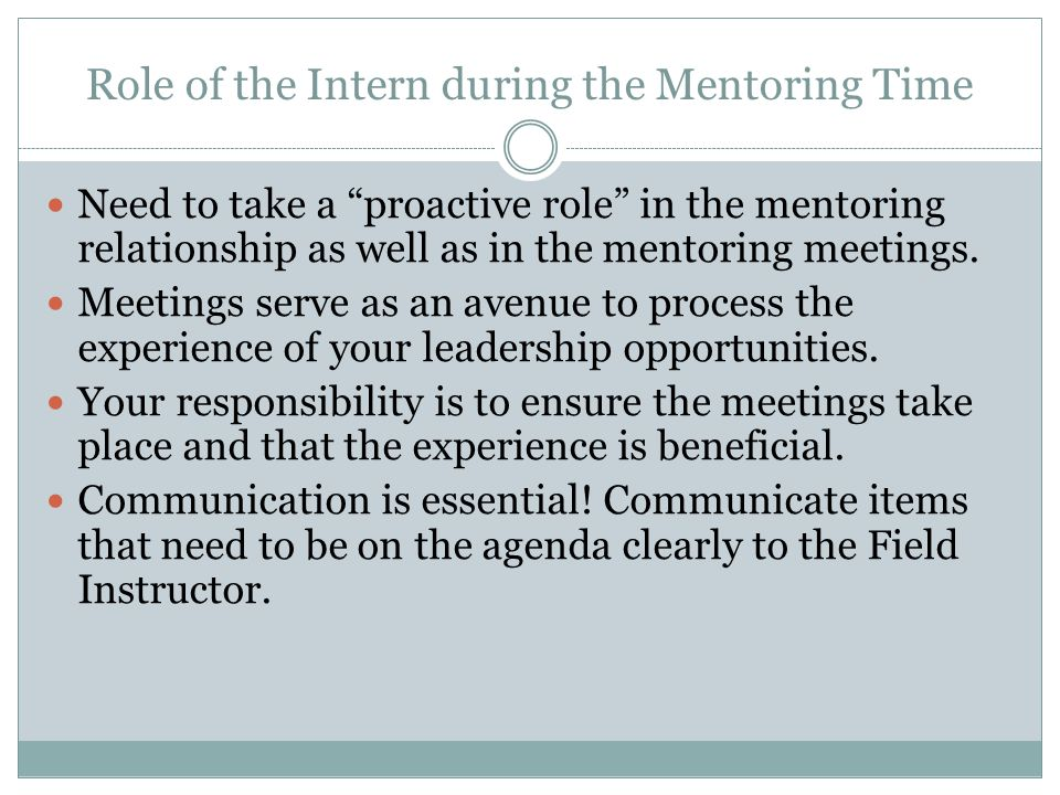 Role of the Intern during the Mentoring Time Need to take a proactive role in the mentoring relationship as well as in the mentoring meetings.