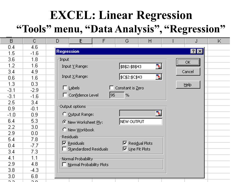 "EXCEL: Linear Regression ""Tools"" menu, ""Data Analysis"", ""Regression"""