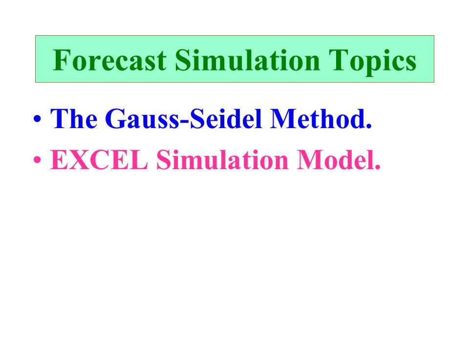 Forecast Simulation Topics The Gauss-Seidel Method. EXCEL Simulation Model.